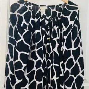 Michael Kors black /white window pane top sz 1x
